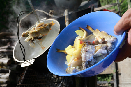 Man takes fish out of soup on picnic