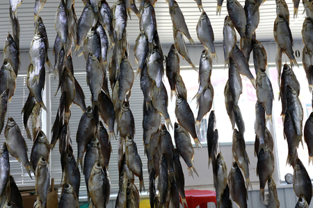 Bundles of dried ram fish on market