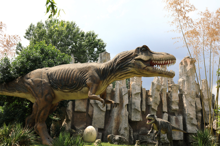 View of dinosaur in the summer park