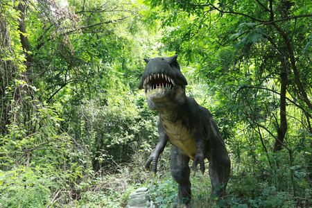 View of tyrannosaurus in the summer park