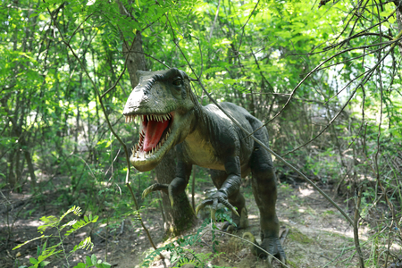 View of angry dinosaur in the summer park 写真素材