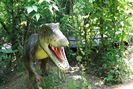 View of green dinosaur in the summer park 写真素材