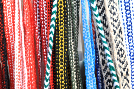Details of arious wool belts on counter market