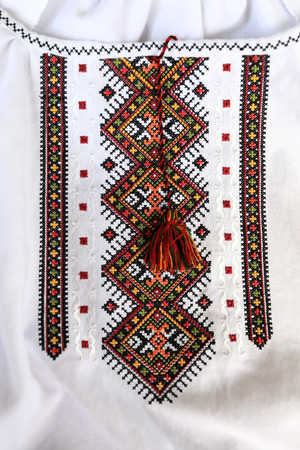 Details of the embroidered ethnic Russian shirt Фото со стока