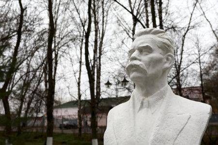 Bust of Soviet writer Maxim Gorky in park
