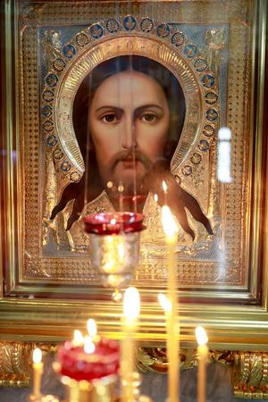 Icon of Jesus Christ in Russian Orthodox church Stock fotó