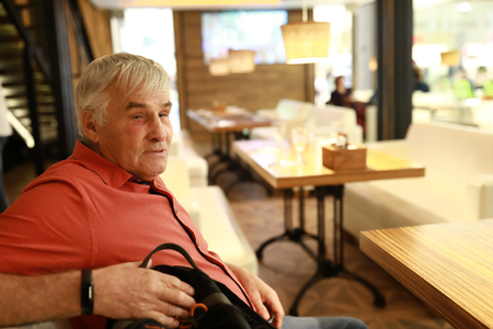Portrait of senior man in a restaurant Reklamní fotografie