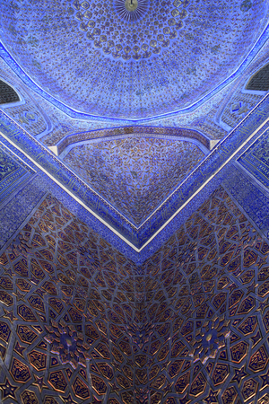 Part of ceiling in Guri Amir. It is a mausoleum of the Asian conqueror Tamerlane in Samarkand, Uzbekistan
