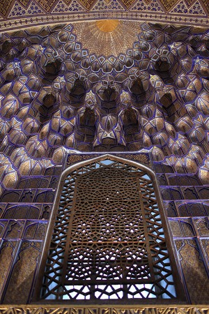View of Guri Amir window. It is a mausoleum of the Asian conqueror Tamerlane in Samarkand, Uzbekistan