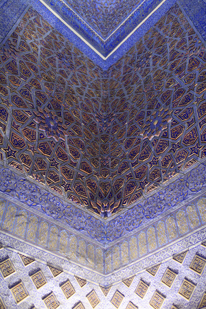Ornament of Guri Amir. It is mausoleum of the Asian conqueror Tamerlane in Samarkand, Uzbekistan 스톡 콘텐츠