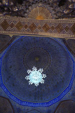 View of Guri Amir cupola. It is a mausoleum of the Asian conqueror Tamerlane in Samarkand, Uzbekistan 스톡 콘텐츠