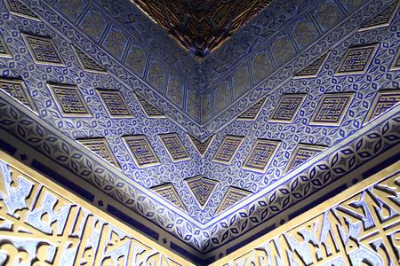 Ornament in Guri Amir. It is a mausoleum of the Asian conqueror Tamerlane in Samarkand, Uzbekistan
