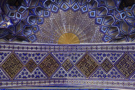 Ceiling of Guri Amir. It is a mausoleum of the Asian conqueror Tamerlane in Samarkand, Uzbekistan