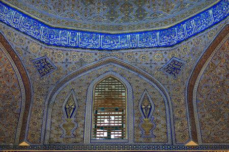 Decorated wall of Guri Amir. It is mausoleum of the Asian conqueror Tamerlane in Samarkand, Uzbekistan