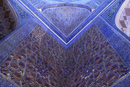 Decoration of Guri Amir. It is a mausoleum of the Asian conqueror Tamerlane in Samarkand, Uzbekistan