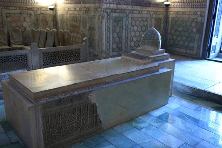Marble tomb in Guri Amir. It is mausoleum of the Asian conqueror Tamerlane in Samarkand, Uzbekistan