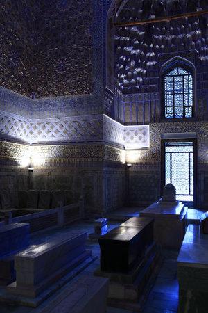 Guri Amir mausoleum of Asian conqueror Tamerlane in Samarkand, Uzbekistan 에디토리얼