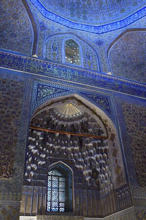Window arch in Guri Amir. It is mausoleum of the Asian conqueror Tamerlane in Samarkand, Uzbekistan 에디토리얼