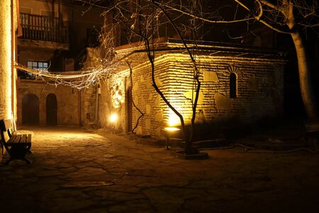 View of yard in old Tbilisi at night