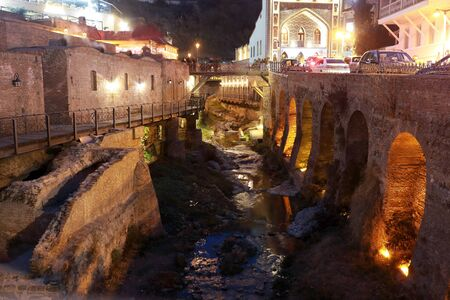 View of fig gorge in Tbilisi at night Stock Photo