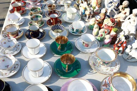 Secondhand coffee and tea cups in swap meet, Tbilisi, Georgia