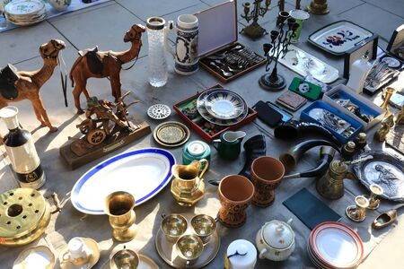 Secondhand vintage things in swap meet, Tbilisi, Georgia Stock fotó