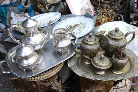 Secondhand coffee and tea sets in swap meet, Tbilisi, Georgia
