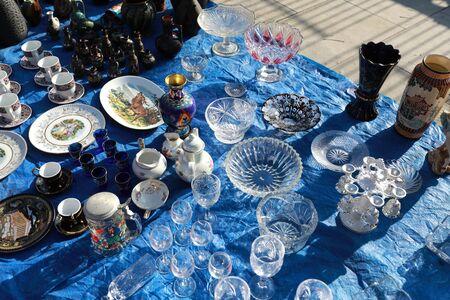 Secondhand tableware in swap meet, Tbilisi, Georgia