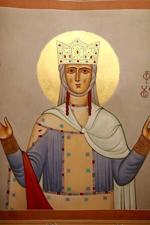 Details of georgian saint icon in Orthodox church, Georgia