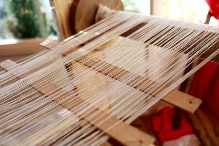 View of vintage loom In workshop, Russia Standard-Bild