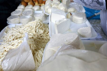 Assortment of cheeses on market in Kislovodsk, Russia