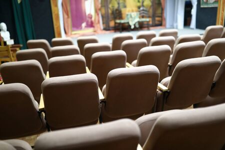 View of brown armchairs in the theater Фото со стока