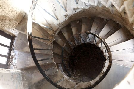 Details of spiral staircase in abandoned building, Kabardino-Balkaria, Russia Stock fotó