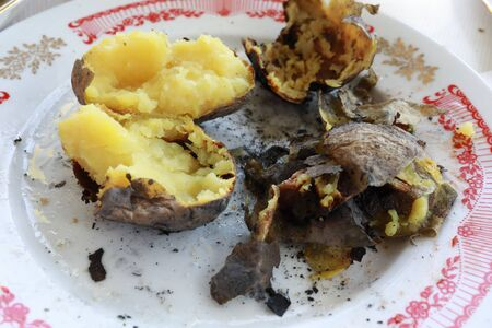 Leftovers of charcoal baked potatoes on picnic Banque d'images