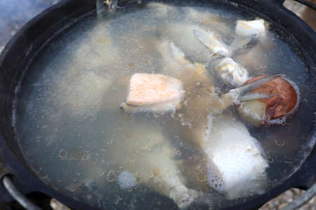 Russian soup cooked from various fish in cauldron on fire
