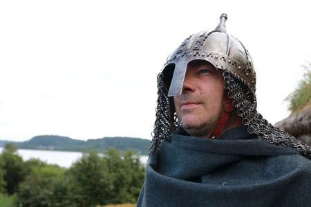 Viking on shores of Lake Ladoga in summer, Karelia