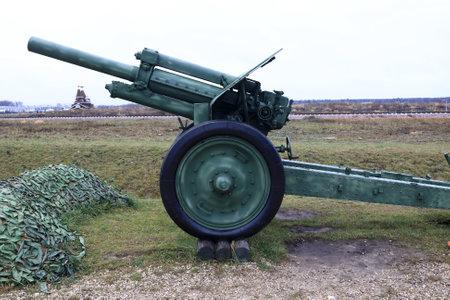 View of soviet howitzer during World War II M-30