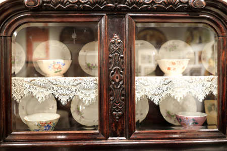 View of vintage kitchen cupboard in cafe