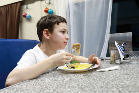 Boy eating chicken steak with boiled potatoes in train restaurant carriage