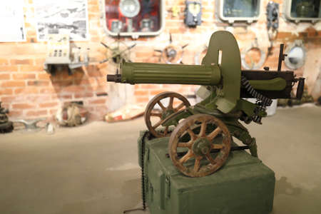 View of old machine gun maxim indoor