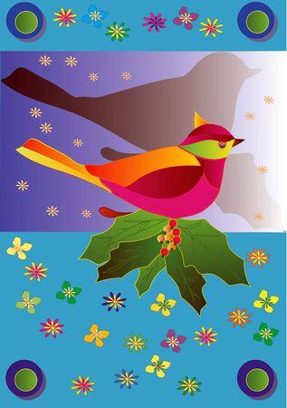 Bird of happiness, a celebratory congratulatory illustration Stock Illustration - 3094348