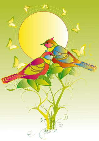 Birds and butterflies in a sunny day on a green lawn Stock Photo - 3094346