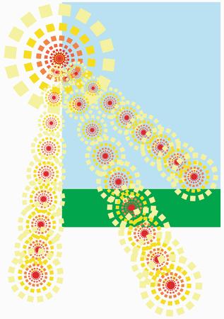 The bright summer sun. Original pattern  Stock Vector - 3234060