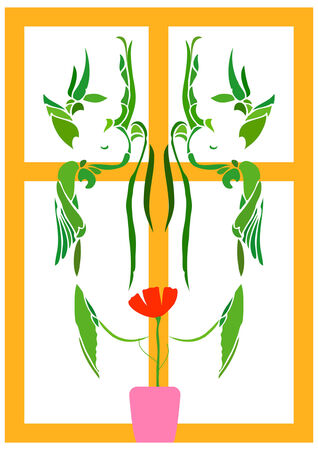 Decorative ornament in the form of a lonely flower on a window sill. Illustration