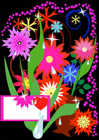 Congratulatory card. Bright flowers on a black background. Vector