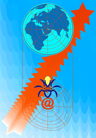 The spider has weaved an Internet network around our planet. Stock Vector - 3334651
