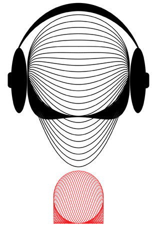 announcer: The symbolical commentator or the announcer of radio. Illustration