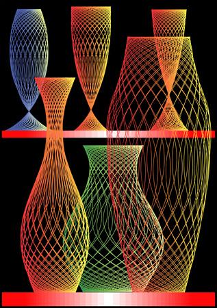Vases and wine-glasses on a black background. Illustration