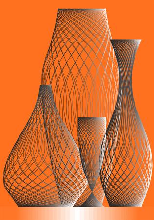 Vases and wine-glasses on a orange background. Illustration
