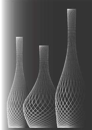 zwart wit tekening: Het is zwart wit tekening van drie flessen op een zwarte achtergrond.